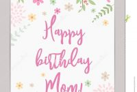 Happy Birthday Mom Greeting Card Stock Vector  Illustration Of throughout Mom Birthday Card Template