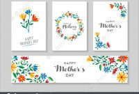 Happy Mother's Day Card And Label Floral Set Stock Illustration with regard to Mothers Day Card Templates
