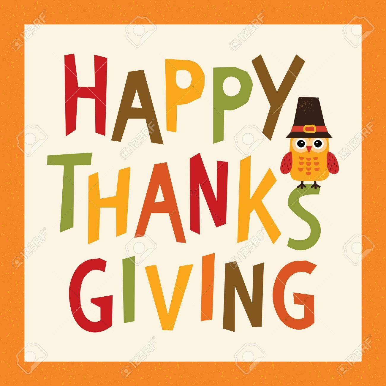 Happy Thanksgiving Day Card Poster Or Menu Template In Orange With Thanksgiving Day Menu Template