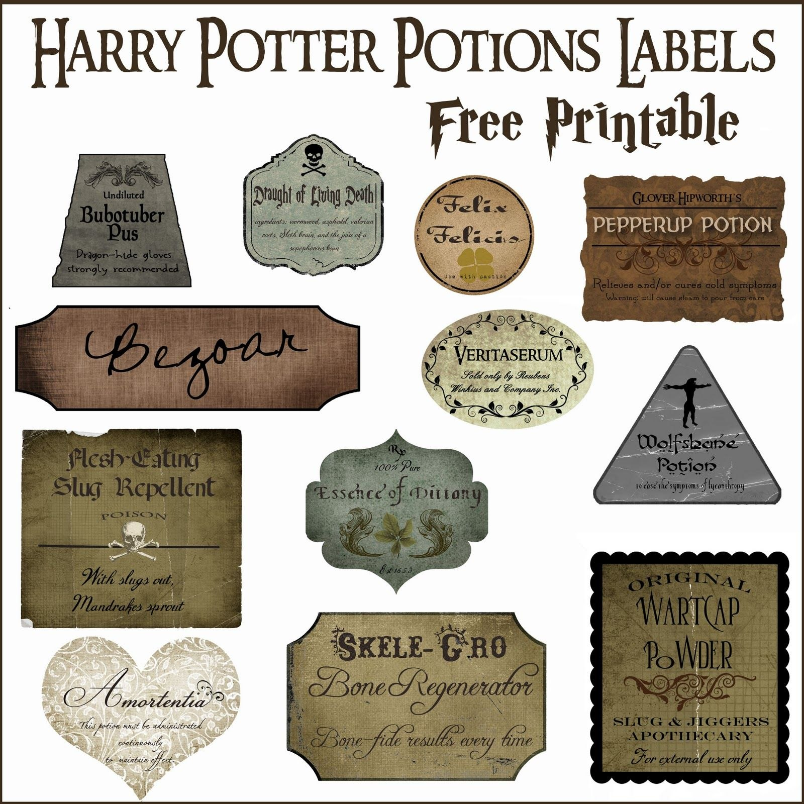 Harry Potter Potion Label Printables  Nerdy Stuff  Harry Potter Throughout Harry Potter Potion Labels Templates