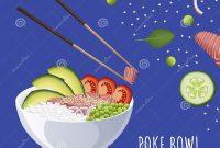Hawaiian Poke Tuna Bowl With Bow Rice Avocado Tomato Green Pea intended for Hawaiian Menu Template