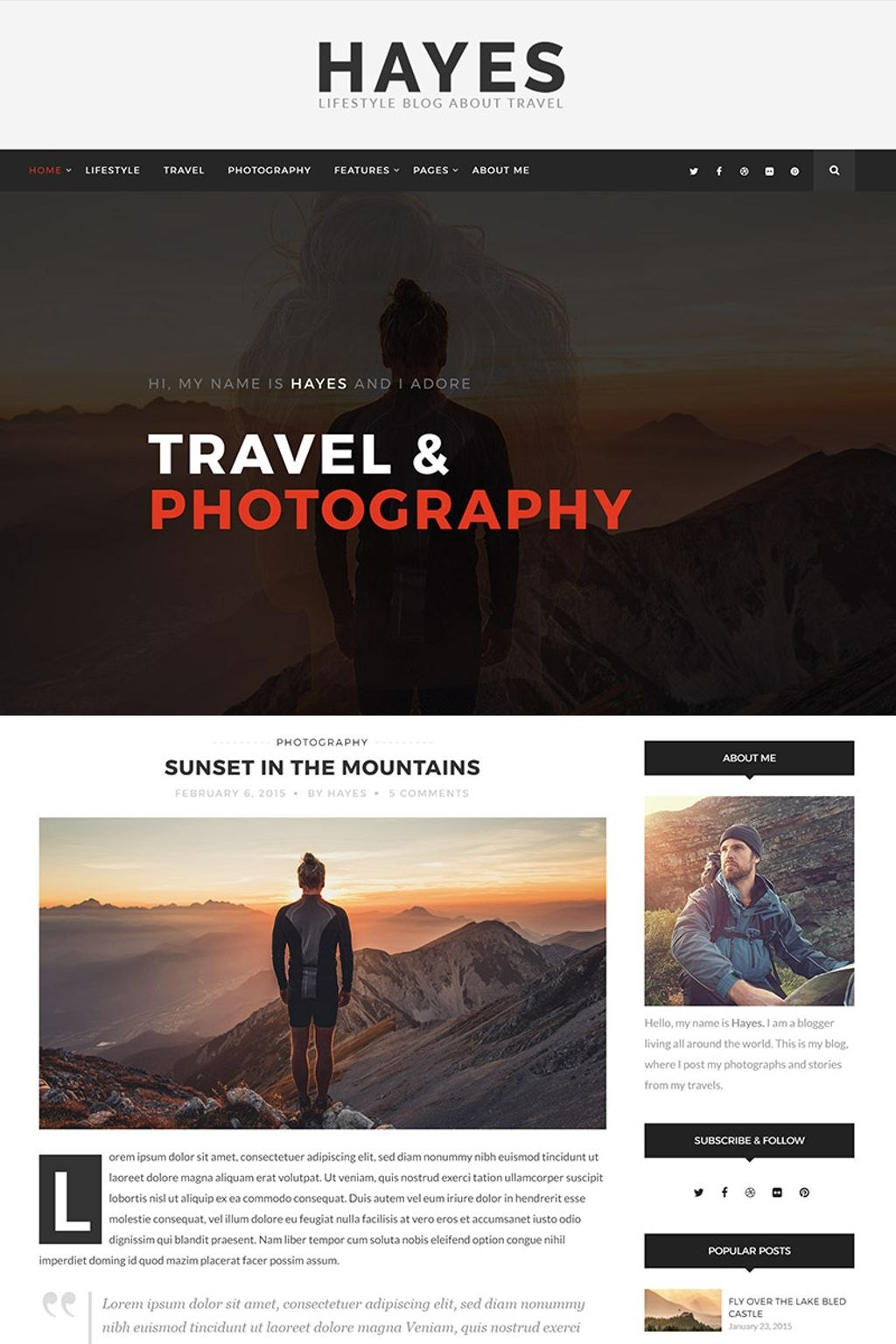 Hayes  Travel Blog WordPress Theme For Hayes Certificate Templates
