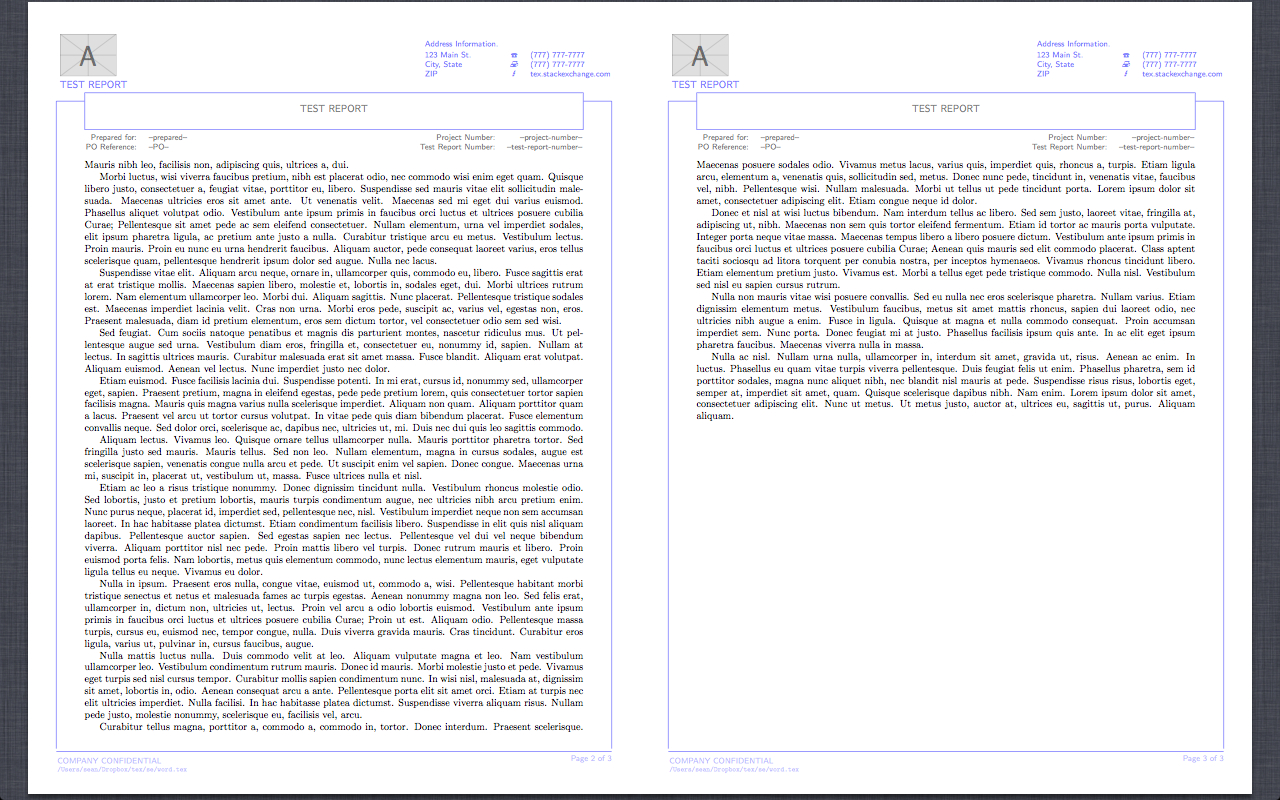 Header Footer  Reproduction Of Word Report Template In Latex  Tex Intended For Latex Template Technical Report