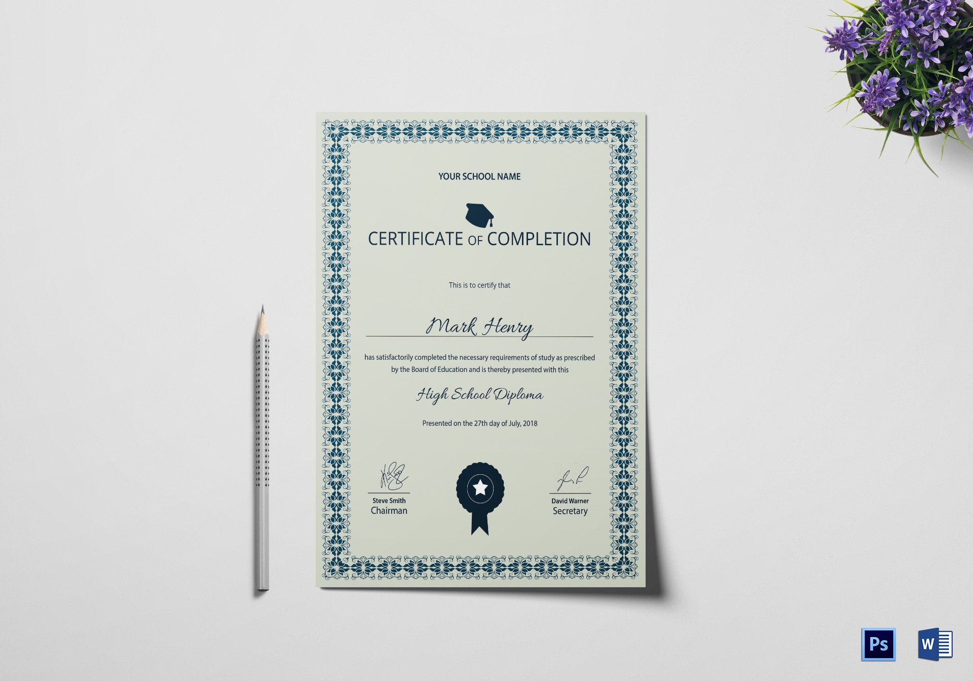 High School Diploma Completion Certificate Design Template In Psd Word In Certificate Of Completion Word Template