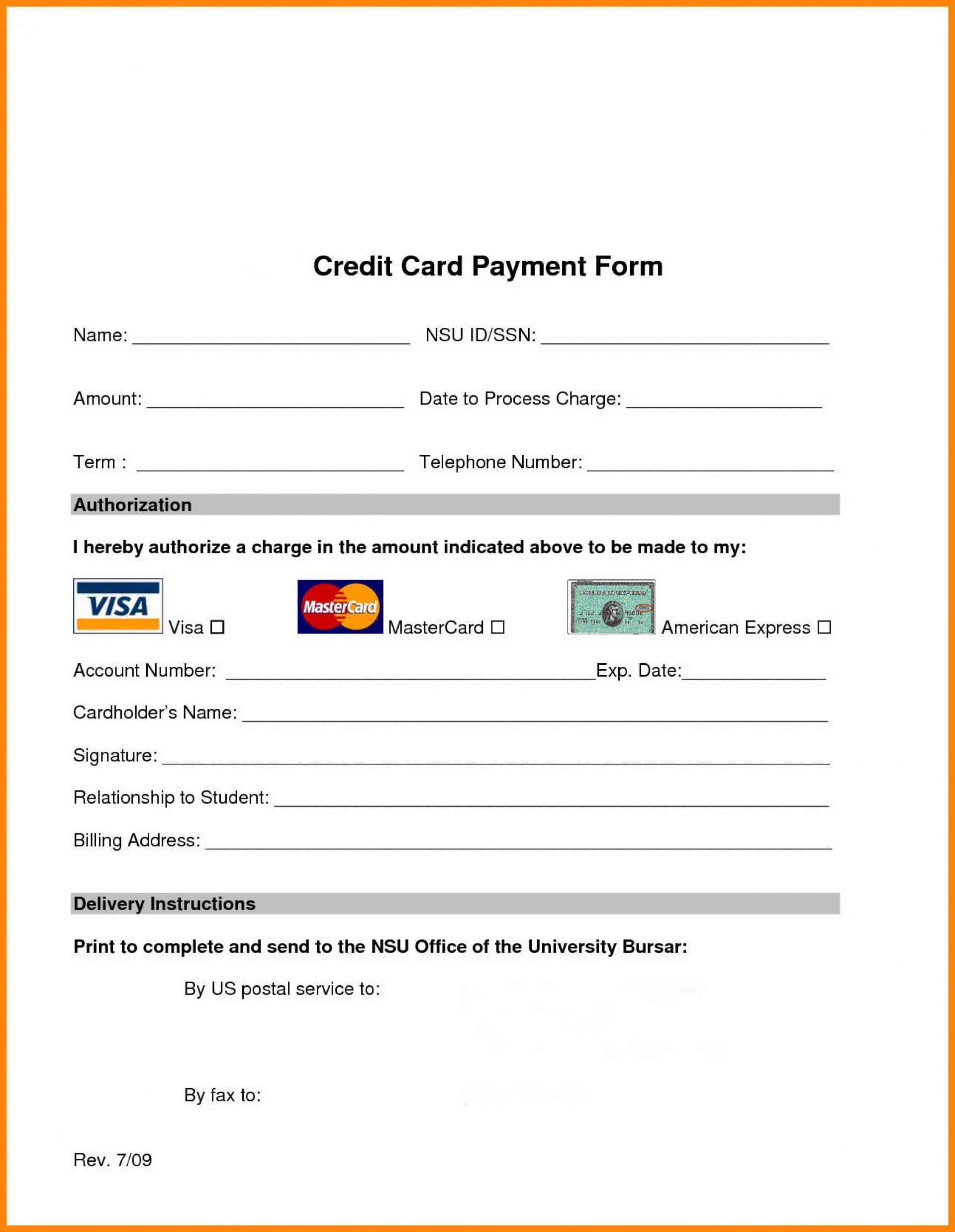 Hilton Credit Card Authorization Form Template Pdf Unbelievable With Regard To Credit Card Payment Form Template Pdf