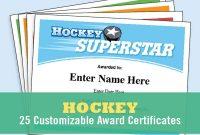 Hockey Certificates Editable Kid Certificates Child Hockey  Etsy in Hockey Certificate Templates