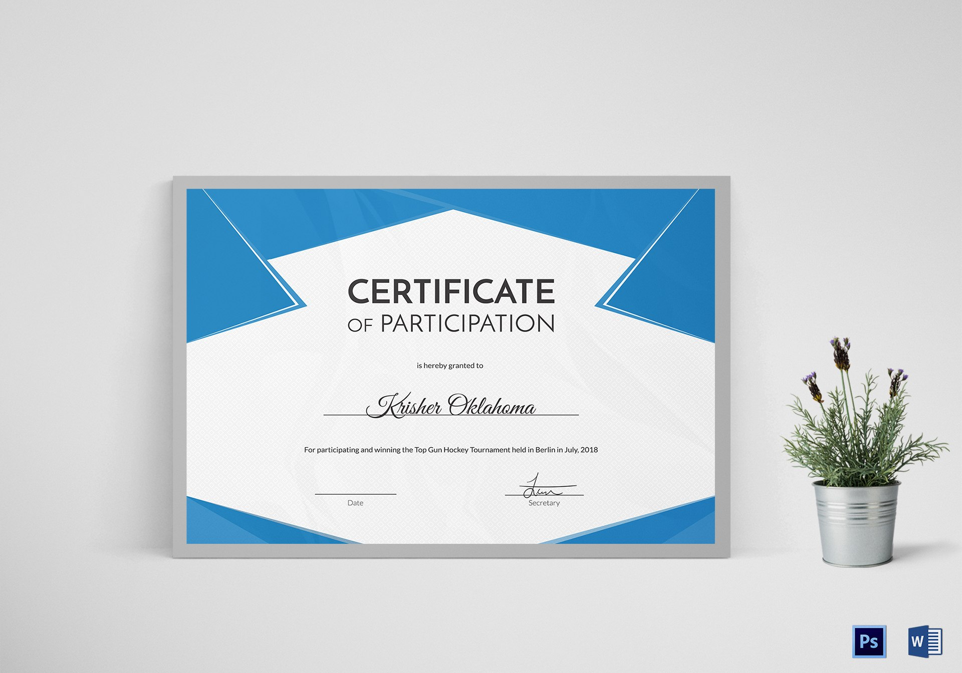 Hockey First Place Certificate Design Template In Psd Word For First Place Certificate Template
