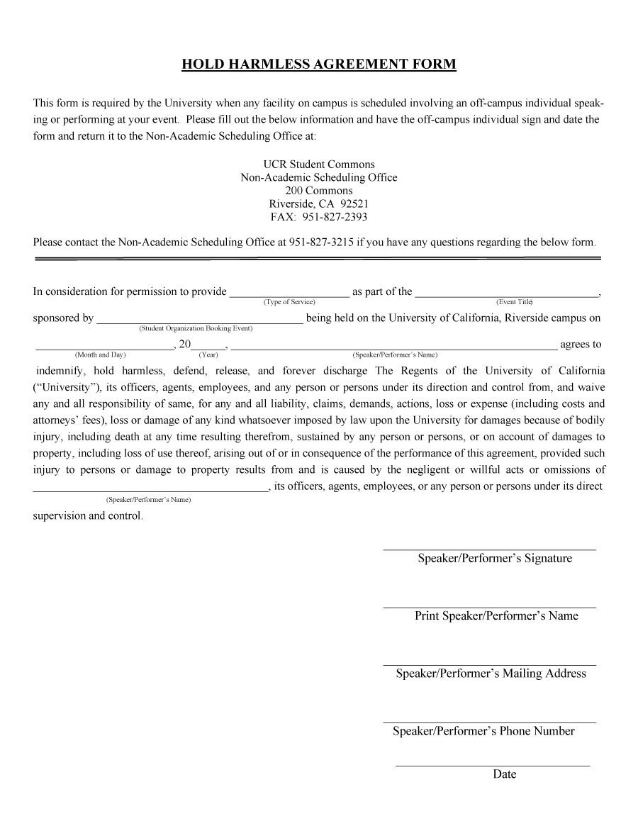 Hold Harmless Agreement Templates Free ᐅ Template Lab Inside Simple Hold Harmless Agreement Template