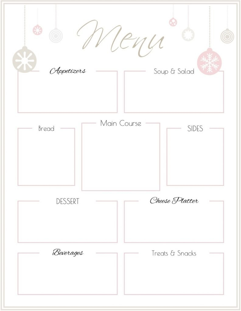 Holiday Party Menu Template Free Printable  Saturdaygift Throughout Printable Menu Template Free