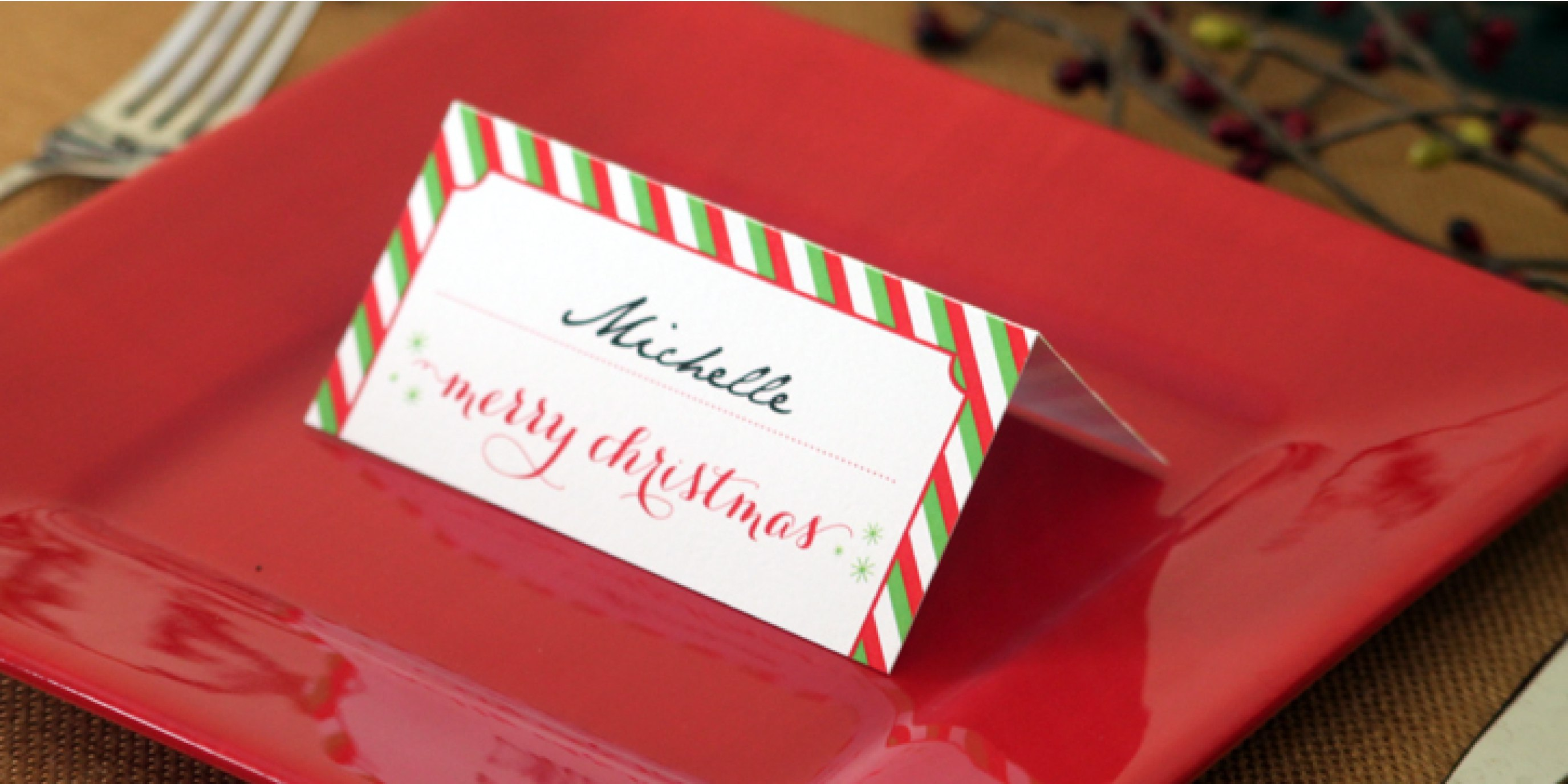 Holiday Place Card Diy Printable In Christmas Table Place Cards Template