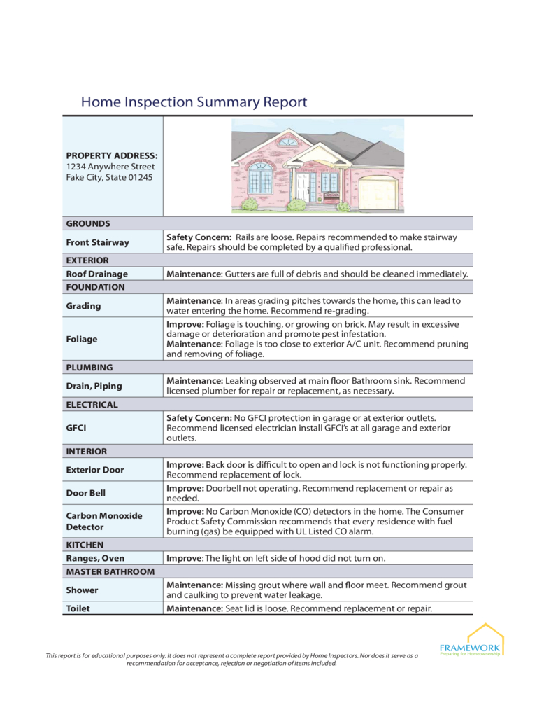 Home Inspection Report  Free Templates In Pdf Word – Teplates For For Home Inspection Report Template Free