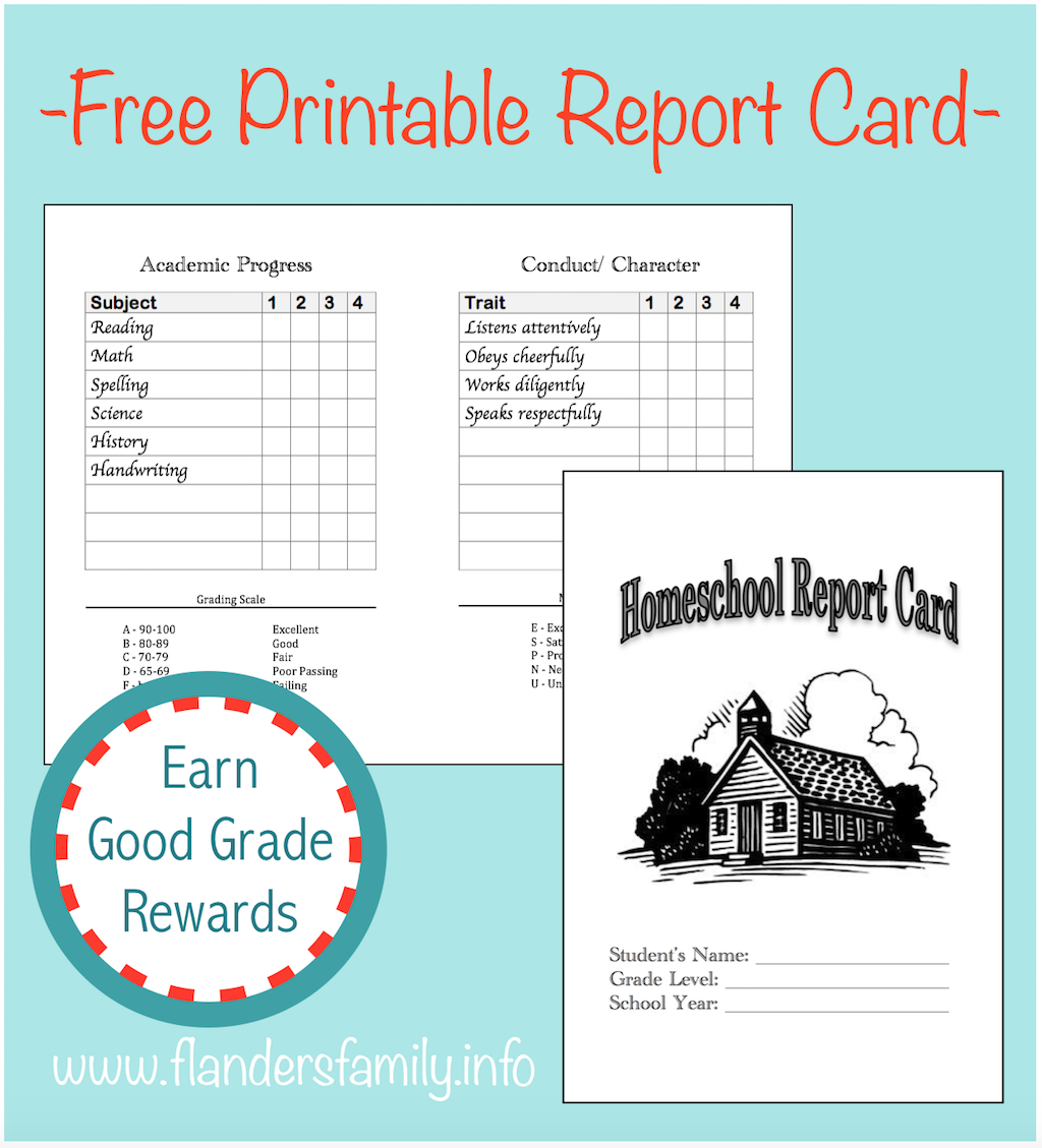 Home School Report Cards  Flanders Family Homelife Regarding Homeschool Middle School Report Card Template