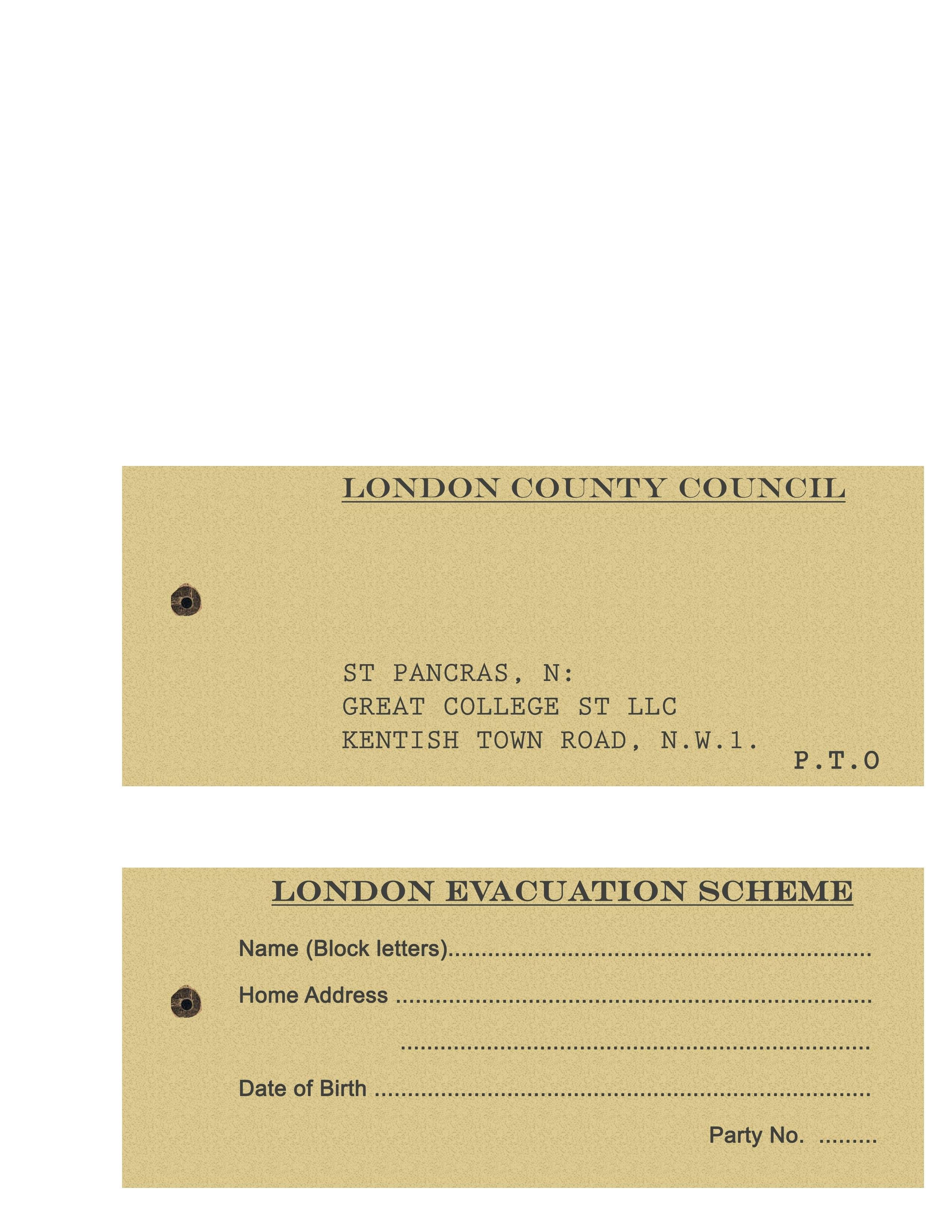 Homemade London Evacuee Tag Ww  School Stuff  Tags Homemade School With Regard To Evacuation Label Template