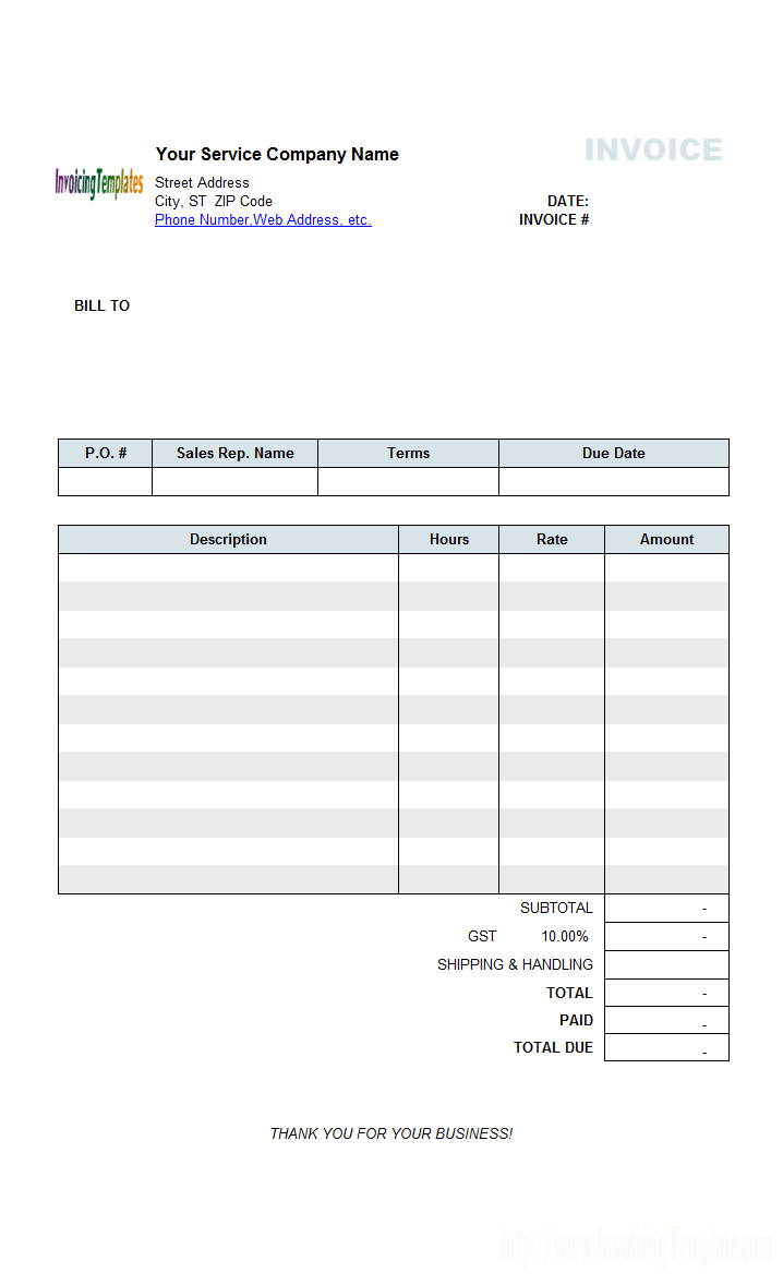 Hourly Service Billing Sample Inside Invoice Template For Dj Services