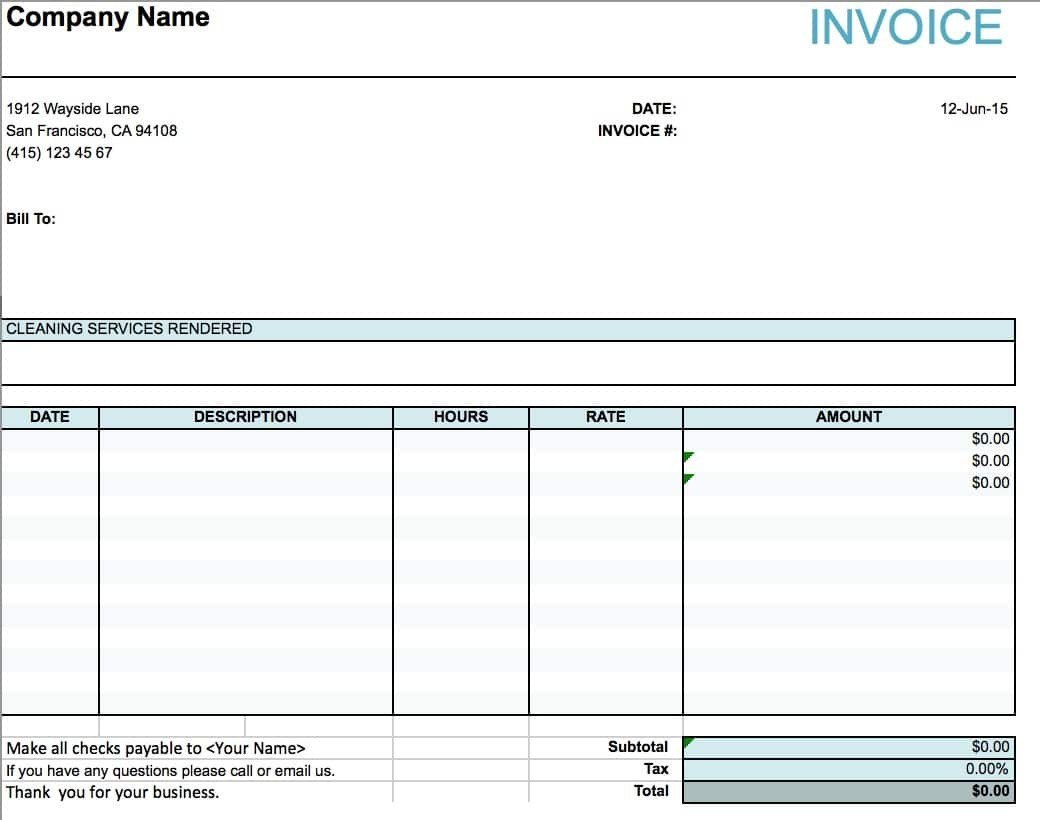 House Cleaning Invoice Template Free  Beholddance With House Cleaning Invoice Template Free