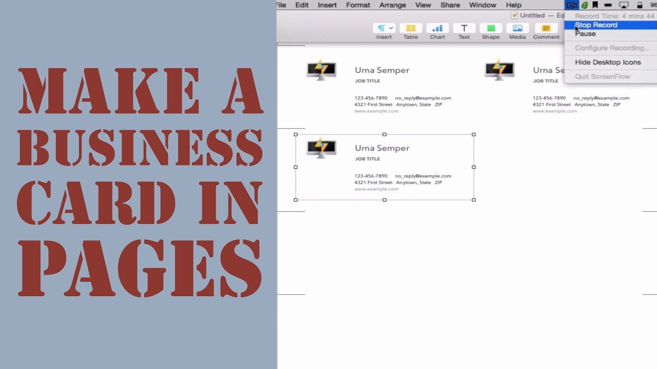 How To Create A Business Card In Pages For Mac   Youtube Regarding Pages Business Card Template