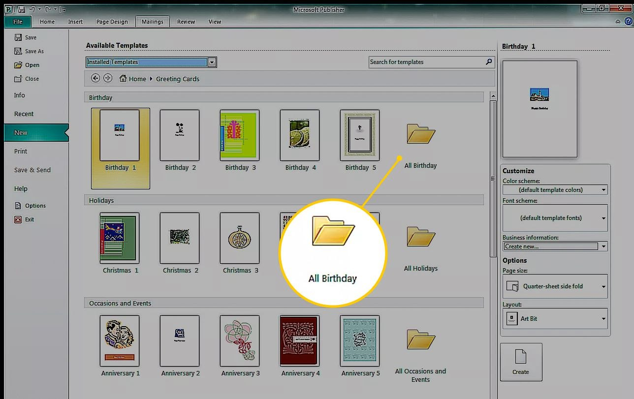 How To Create A Greeting Card In Microsoft Publisher For Birthday Card Publisher Template