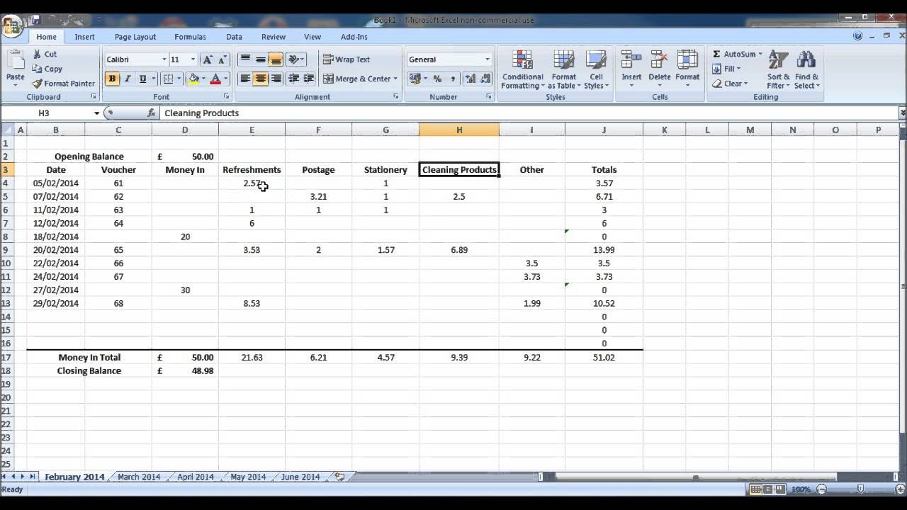 How To Create A Petty Cash Account Using Excel  Part   Youtube Inside Petty Cash Expense Report Template