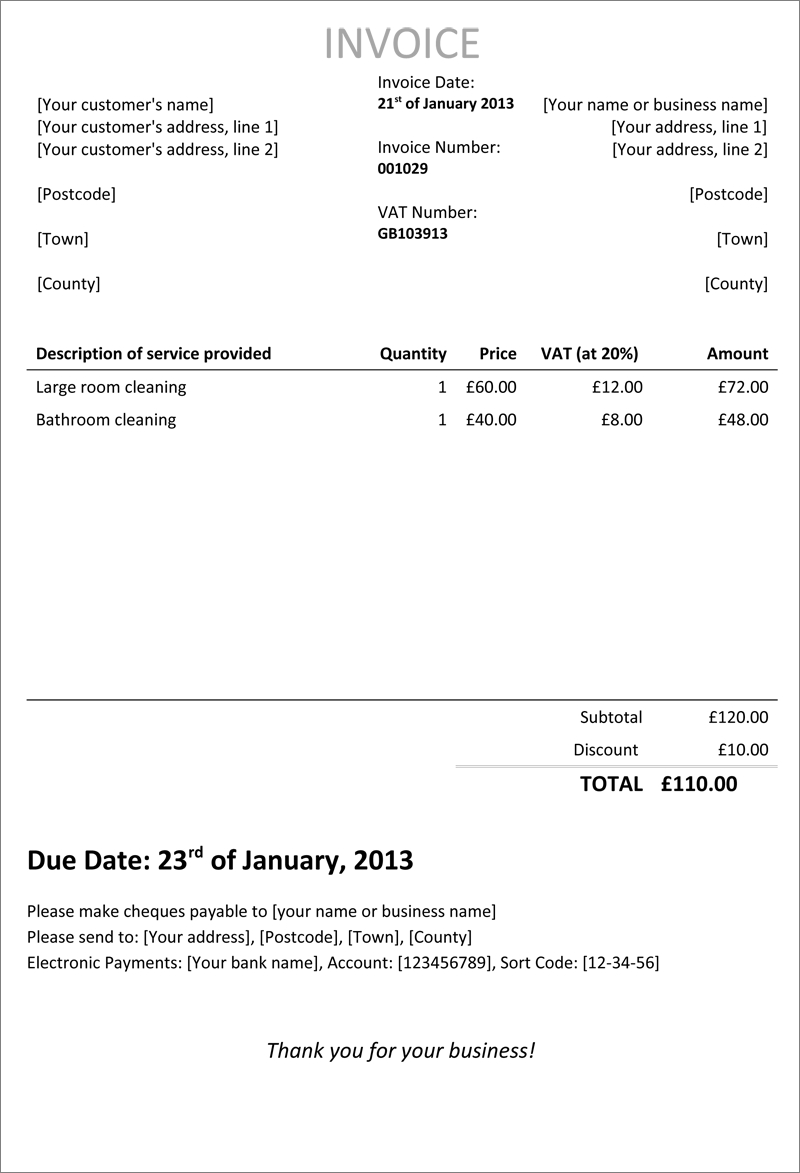 How To Create A Self Employed Invoice Template In  Steps  Cool Intended For Hmrc Invoice Template