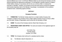 How To Create An Llc Operating Agreement  Free Templates intended for Share Farming Agreement Template