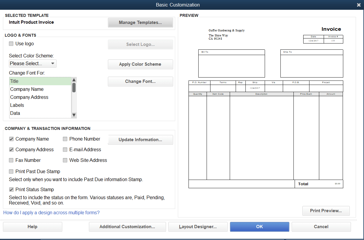 How To Customize Invoice Templates In Quickbooks Pro  Merchant Maverick Inside How To Change Invoice Template In Quickbooks