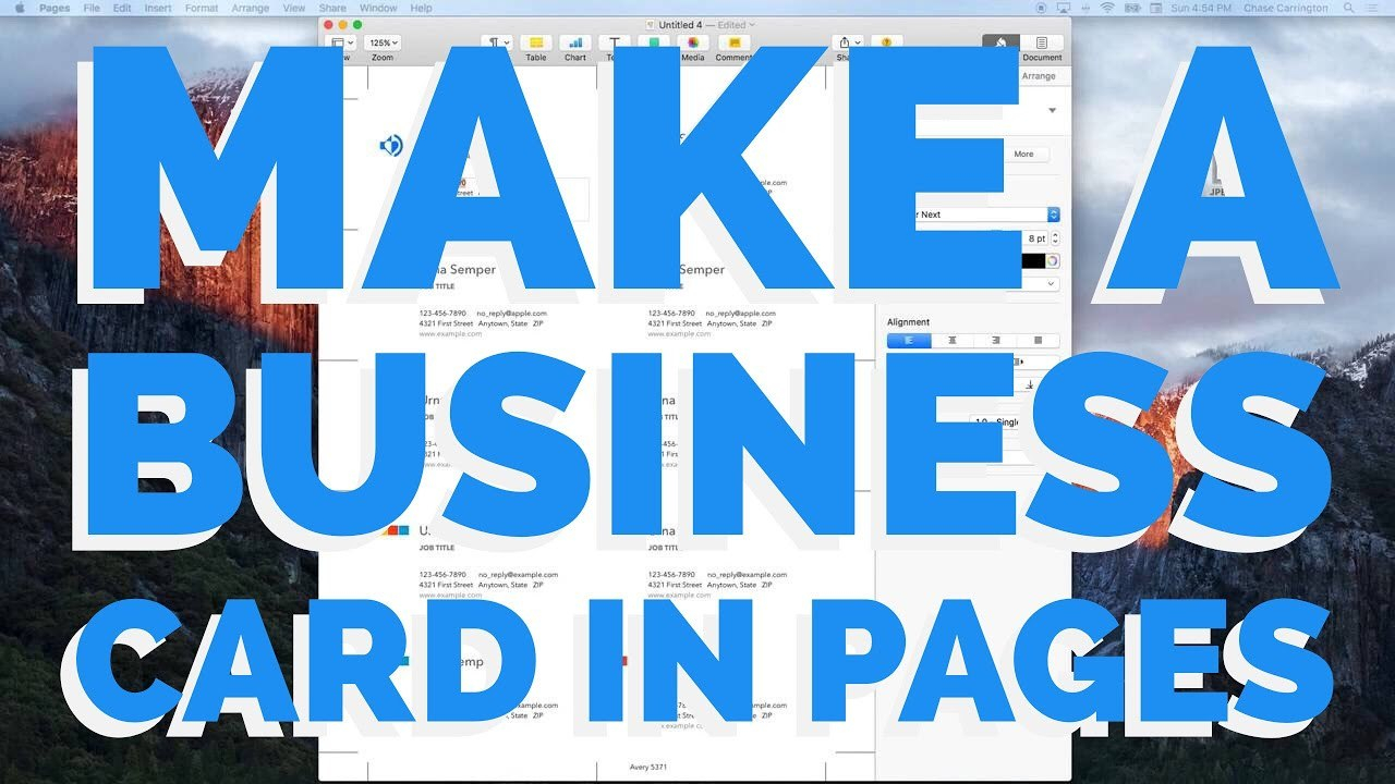 How To Make A Business Card In Pages For Mac   Youtube Within Business Card Template Pages Mac