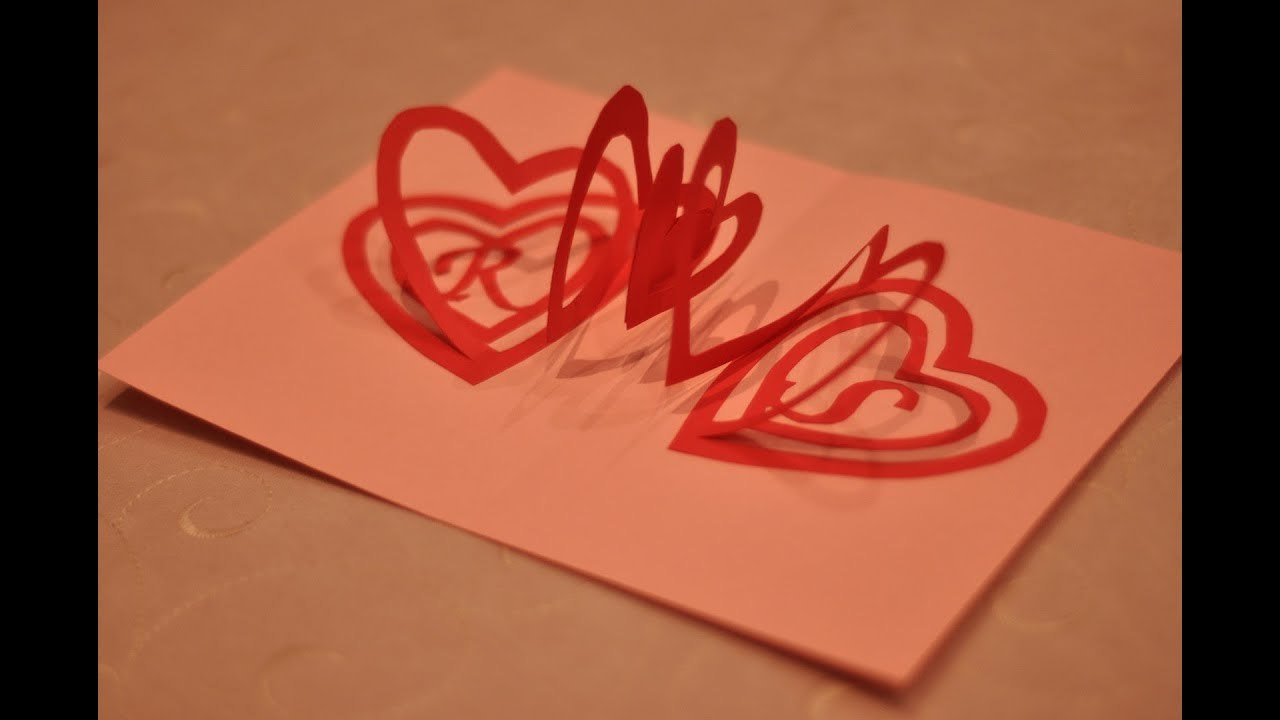 How To Make A Valentine's Day Pop Up Card Spiral Heart  Youtube Regarding Pop Out Heart Card Template