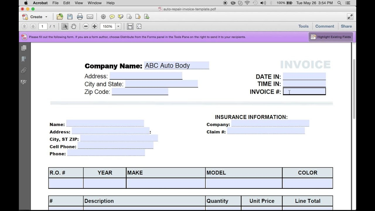 How To Make An Auto Repair Invoice  Excel  Pdf  Word  Youtube Regarding Auto Repair Invoice Template Word