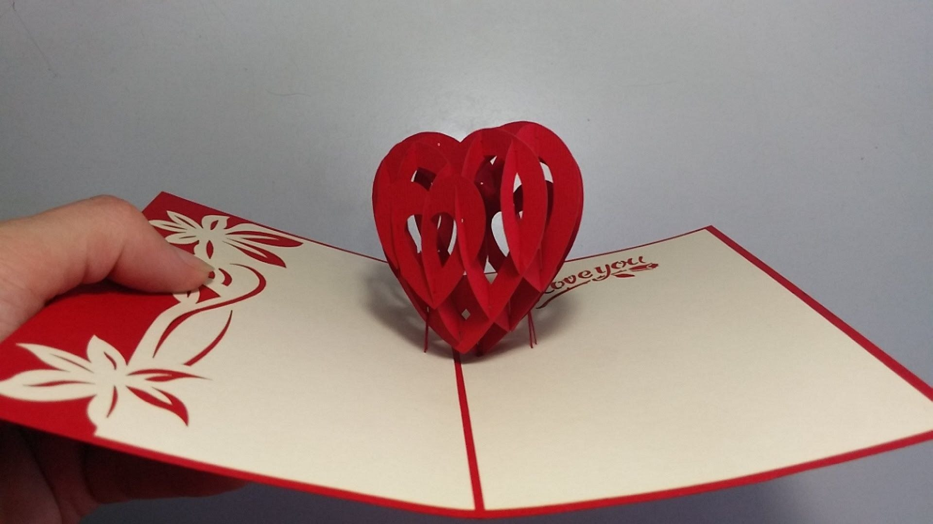How To Make D Heart Valentine Day Pop Up Card  Aoc Craft In 3D Heart Pop Up Card Template Pdf