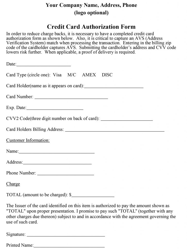 How To Properly Craft A Credit Card Authorization Form In Credit Card On File Form Templates