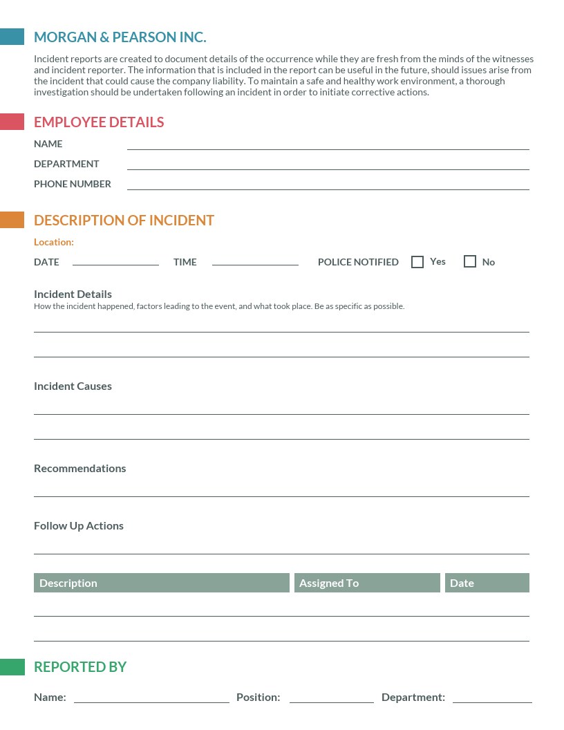 How To Write An Effective Incident Report Incident Report Examples With Serious Incident Report Template