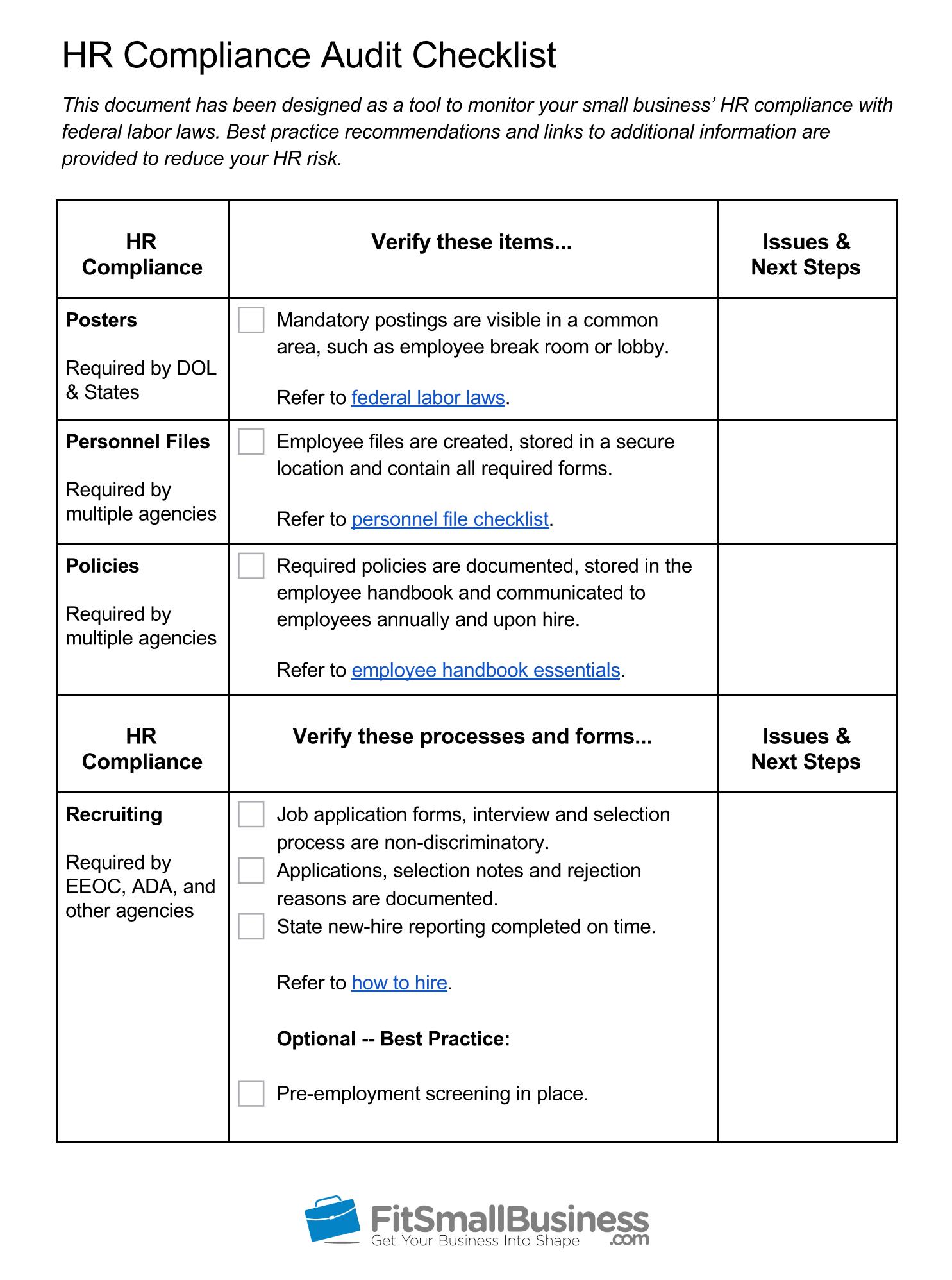 Hr Compliance Definition  Free Hr Audit Checklist Within Sample Hr Audit Report Template
