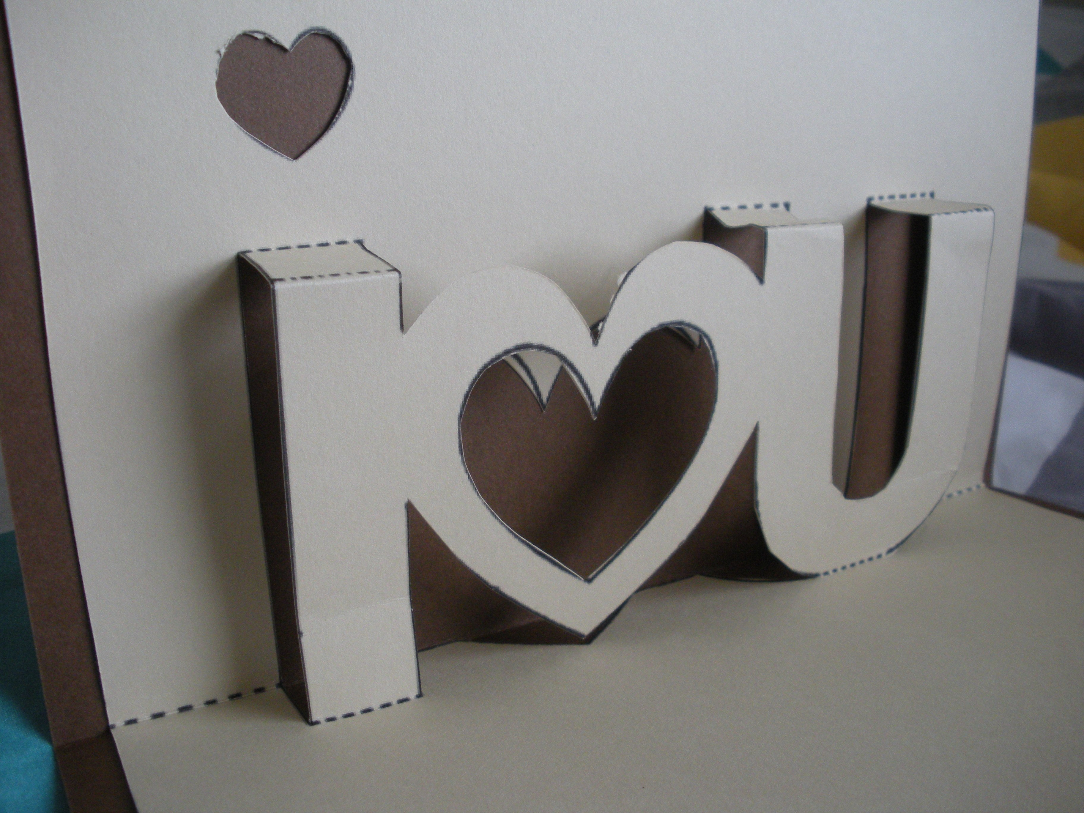"""I  U"""" Popup Card–And The Proper Print Out  Twentyone Intended For I Love You Pop Up Card Template"""