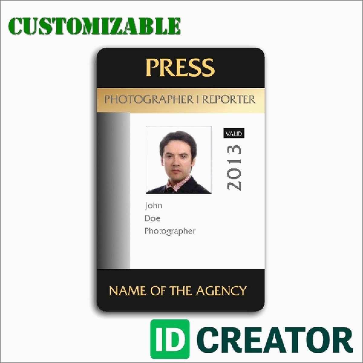 Id Template Free Beautiful Vertical Employee Id Card  Best Of Template Throughout Photographer Id Card Template