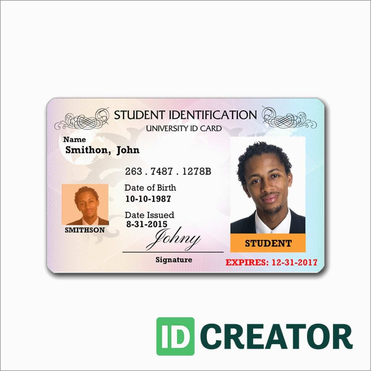 Id Template Free Pleasant  Blank Id Card Templates Psd Ai Vector Throughout College Id Card Template Psd
