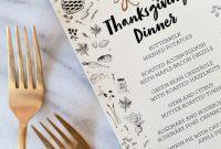 Illustrated Printable Thanksgiving Dinner Menu for Thanksgiving Menu Template Printable