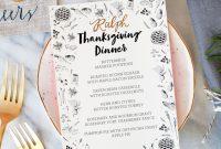 Illustrated Printable Thanksgiving Dinner Menu throughout Thanksgiving Menu Template Printable