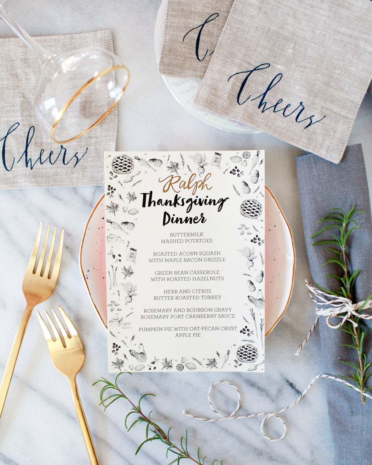 Illustrated Printable Thanksgiving Dinner Menu With Thanksgiving Menu Template Printable