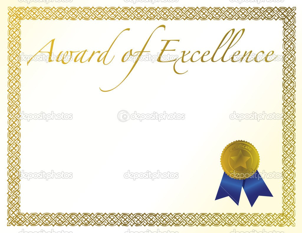 Illustration Of A Certificate Award Of Excellence With Golden Ribbon Throughout Award Of Excellence Certificate Template