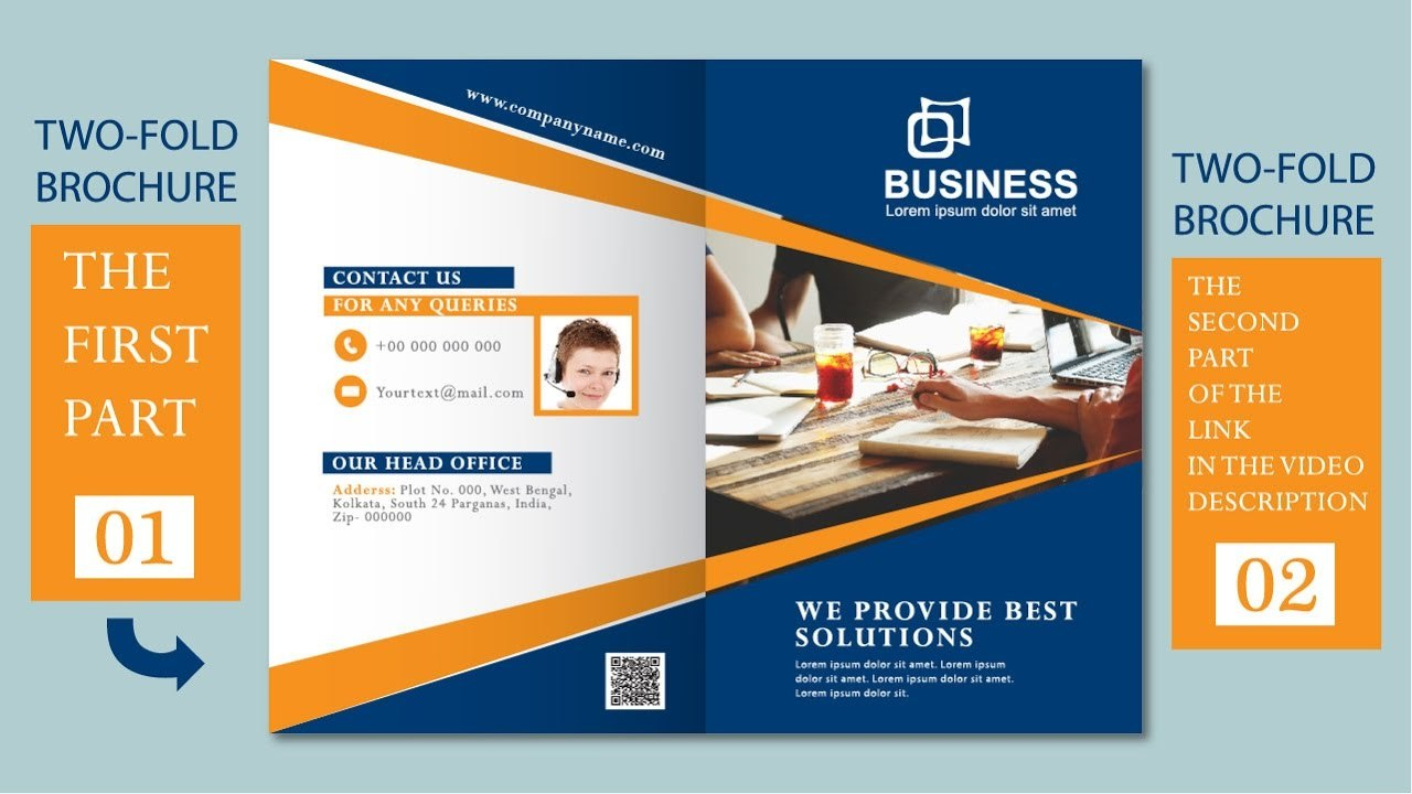 Illustrator Tutorial  Two Fold Business Brochure Template Part Pertaining To 2 Fold Brochure Template Free