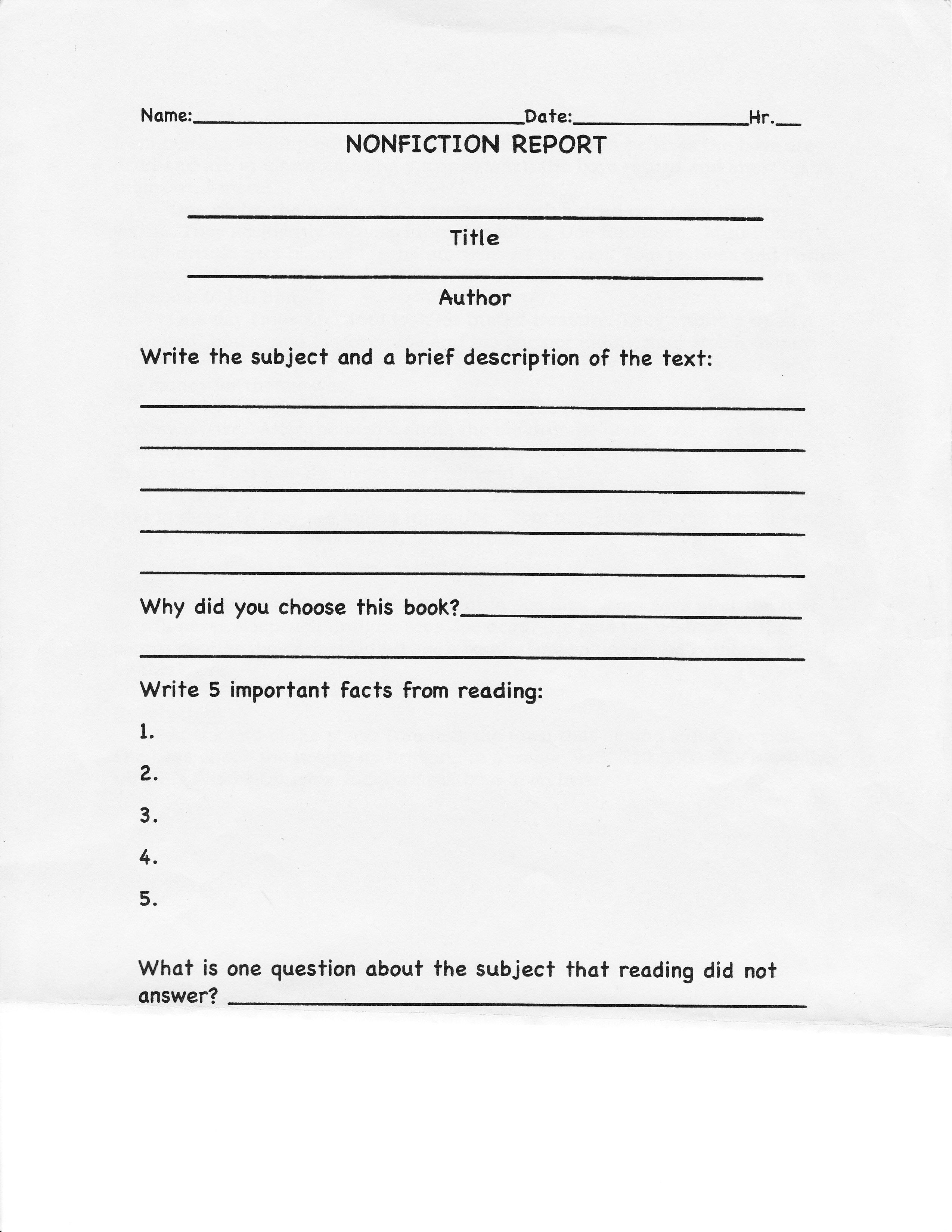 Image Result For Nonfiction Book Report Template College Level Regarding College Book Report Template