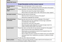Images Of Lessons Learned Report Sample Template  Evreneter pertaining to Prince2 Lessons Learned Report Template