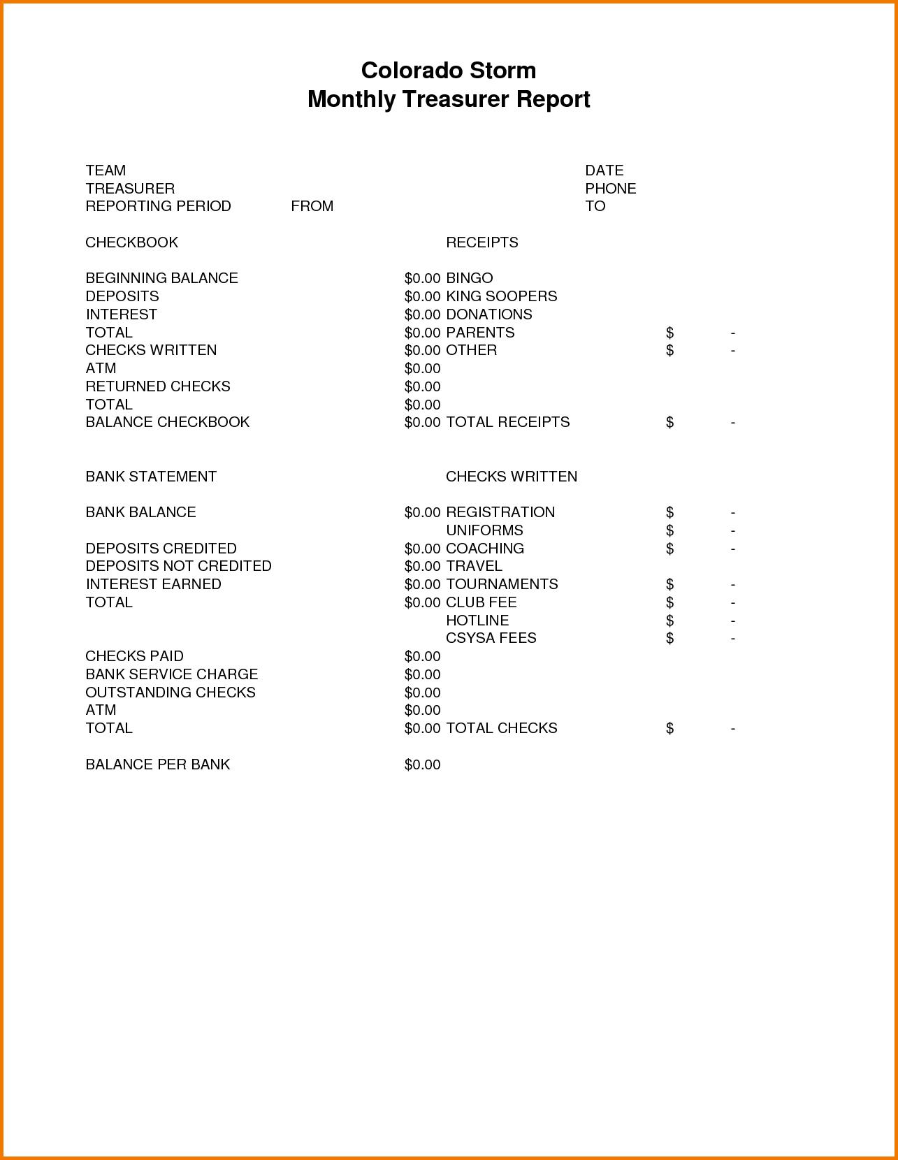 Images Of Team Treasurer Report Template  Evreneter Regarding Treasurer Report Template