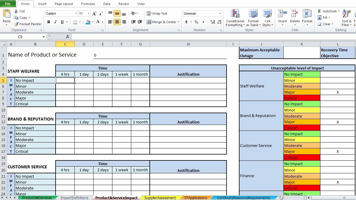 Impact Assessment Template Excel Five Signs You're In Love Throughout It Business Impact Analysis Template