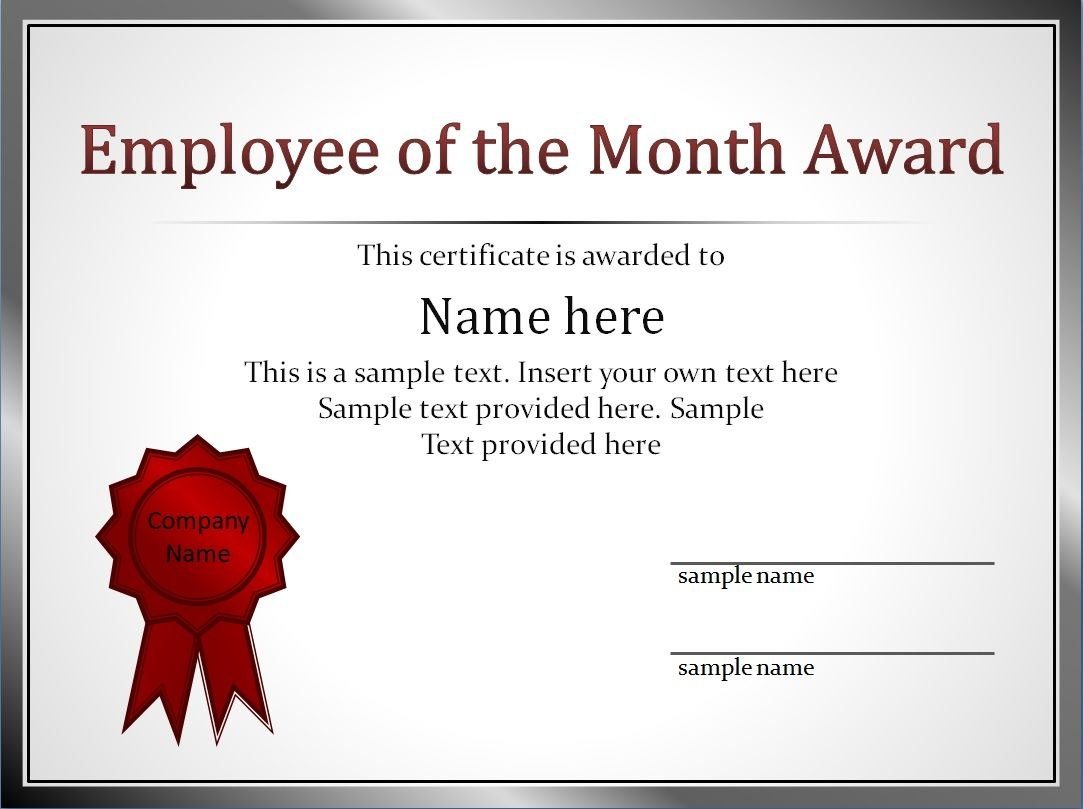 Impressive Employee Of The Month Award And Certificate Template With Pertaining To Employee Of The Month Certificate Templates