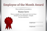 Impressive Employee Of The Month Award And Certificate Template With Regarding Employee Of The Month Certificate Template With Picture