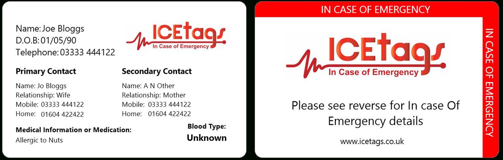 In Case Of Emergency Card  Wallet Card  Free Delivery With In Case Of Emergency Card Template
