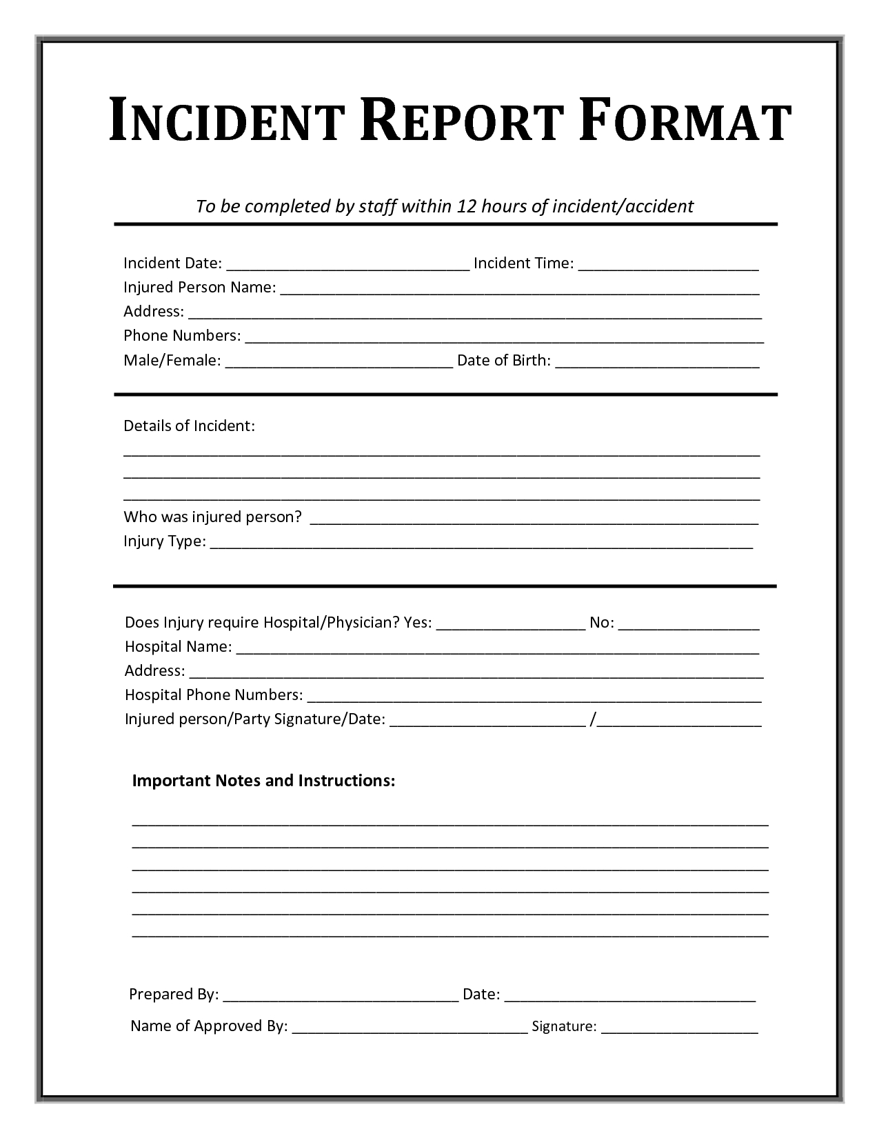 Incident Report Form Template Microsoft Excel  Report Templates Intended For Incident Report Template Microsoft