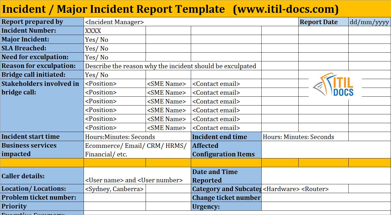 Incident Report Template  Major Incident Management – Itil Docs Throughout Incident Report Register Template
