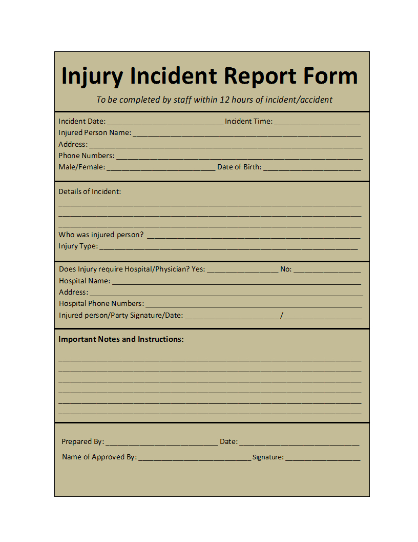 Incident Report Template Within Insurance Incident Report Template